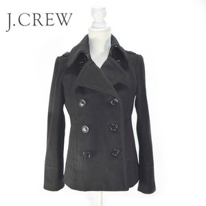 J. CREW Classic Black Double Breasted Pea Coat S
